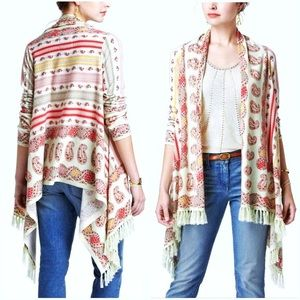 ANTHROPOLOGIE GUINEVERE ESTA FRINGE CARDIGAN